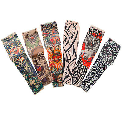 6 Pcs Temporary Fake Slip On Tattoo Sleeves Arm Stocking Cosplay Party