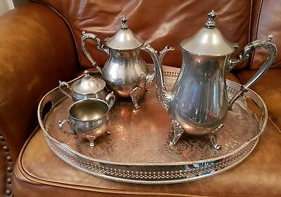 Vintage Silver Plated Large Heavy Galleried Tray and Tea Set