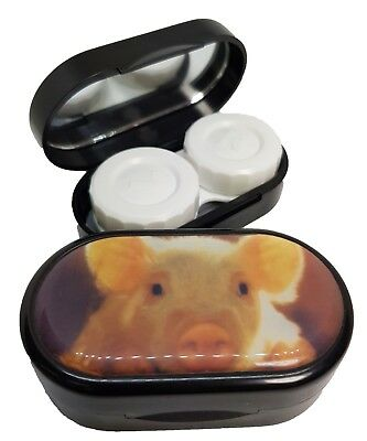 Classic Style Mirror Case Contact Lens Soaking Storage Case UK MADE - Cute Pig