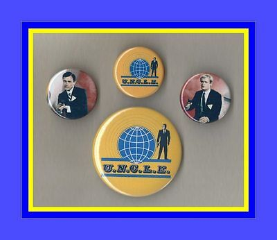 The Man from Uncle Set of 4 Retro Badges - Napoleon Solo - FREEPOST