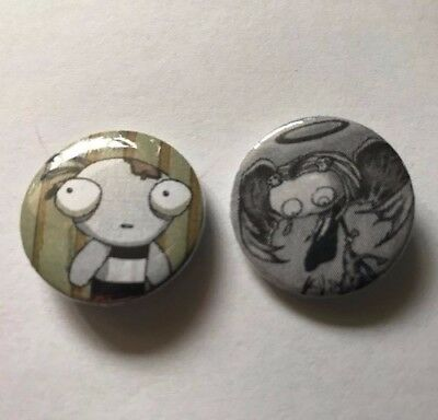 """Set of 2- 1""""  Lenore Buttons, The Cute Little Dead Girl, Ragamuffin, Roman Dirge"""