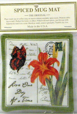 Alice's Cottage Cotton Scented Spiced Mug Mat Coaster One Day at a Time Lily NEW