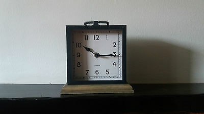 CHRISTMAS GIFT Black And Wood Base Contemporary Rustic Metal Square Mantle Clock