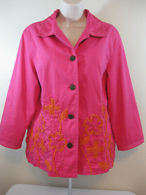 Chico's 2 Women's Hot Pink Jacket Size Large 12 Cotton Embroidered Button Front