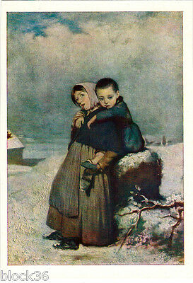 1961 Russian postcard ORPHANS by Russian painter V.Perov