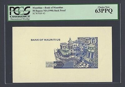 Mauritius 50 Rupees ND(1998) P43p Back Proof Uncirculated