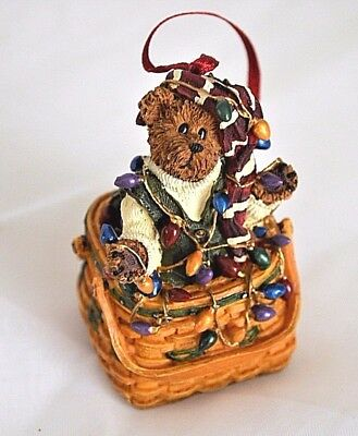 Boyds Bear Christmas Ornament Basket With Lights With Box Limited Edition