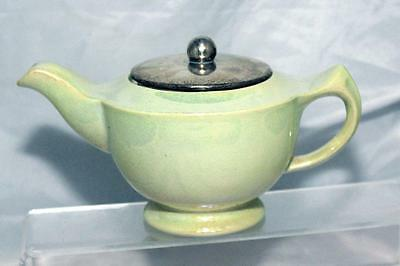 George Clews Chameleon Ware Lemon Green Lustre Art Deco Tea Pot + EPNS Lid 1920s