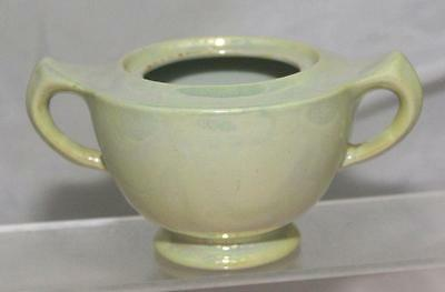 George Clews Chameleon Ware Lemon Green Lustre Art Deco Sugar Bowl circa 1920