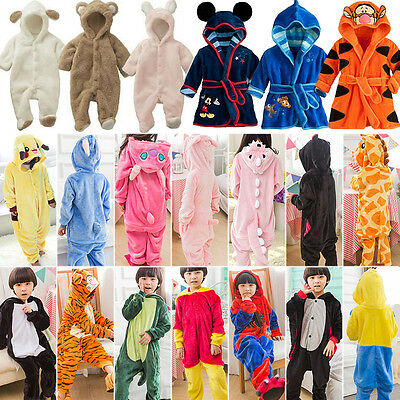 Kids Boys Girls Pajamas Romper Bath Robe Hooded Kigurumi Cosplay Animal Costume