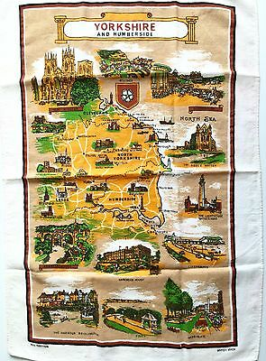 Vintage Large Bar Cloth Wall Map Of Yorkshire And Humberside, England