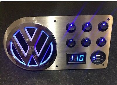 VW Volkswagen T25 T4 T5 T6 illuminated Switch Panel Voltmeter usb x6 switches