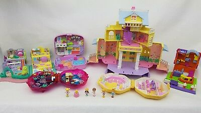 polly pocket bundle Clubhouse. Summer house. Ice Cream Parlor. Sweet roses.