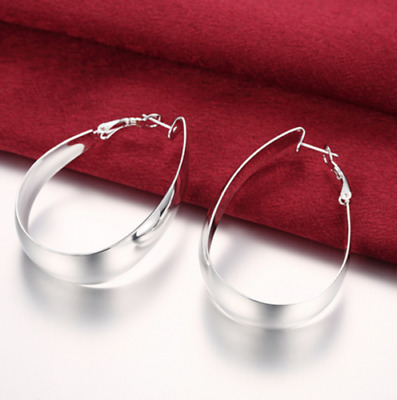 Womens 925 Sterling Silver Elegant U-Shape Pierced Hoop Earrings #E96