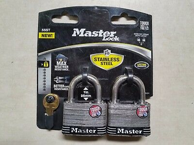 Master PADLOCK 2 IN LAM Stainless Steel SHACKL 2PK 5SST Fast Shipping