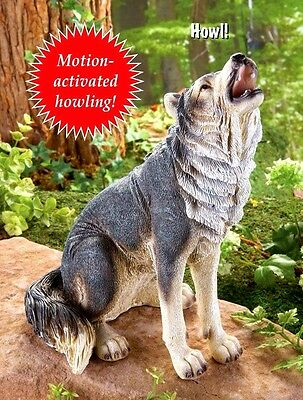 Sitting Grey Wolf Statue Howling Motion sensor Garden Resin On Off Switch