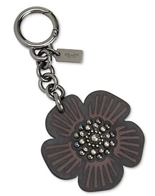 NWT Coach Willow Floral Bag Charm Keychain Hangtag Black Flower Studded 17449 !