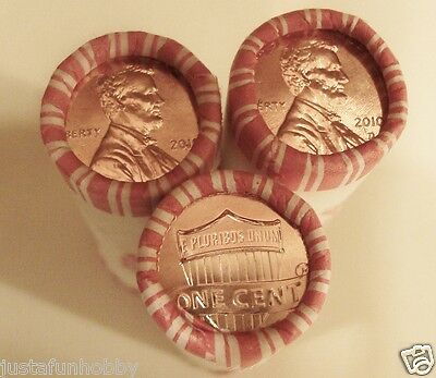 2010 P&D Lincoln Shield Pennies, 2 Brilliant Unc. Heads/Tails N. F. String rolls