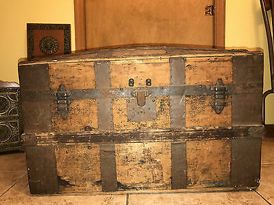 Antique Dome Trunk Victorian Steamer Wood Metal Treasure Chest Hunchback