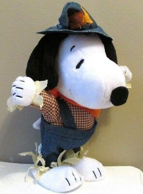 "Snoopy Thanksgiving Scarecrow Side Stepper Plush 12"" Sound & Motion New w/Tag"