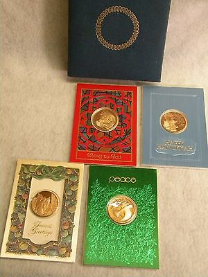 1974 Collector Christmas Hanukkah Medal Cards Set 4 with Bronze Medallion Mint