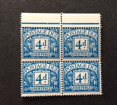 GB 1968 Postage Due 4d block of four no watermark MNH