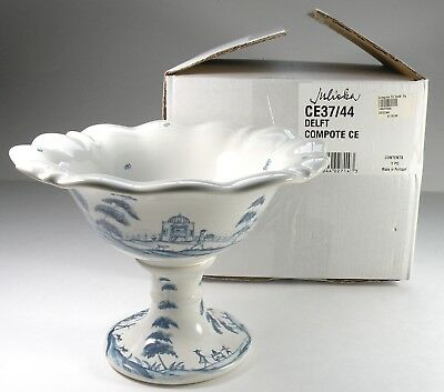 NEW Retired JULISKA Country Estate DELFT Blue COMPOTE Fete Footed BOWL