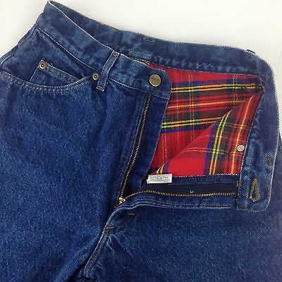 VTG 80s Flannel lined red plaid high high waisted camping mom jeans denim womens