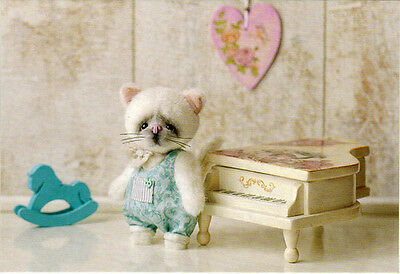 KITTEN AND PIANO Photo of handmade toy Modern Russian postcard