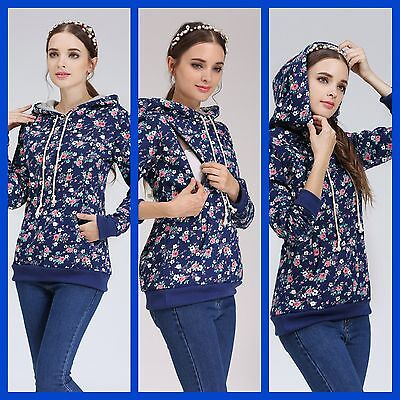 New Floral Maternity Nursing Breastfeeding Jumper Top Hoodie Size 8 10 12 14 16