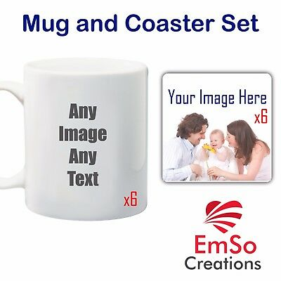 Personalised Photo Mug / Coaster Set Cup Image Text Custom Coffee Tea Xmas Gift