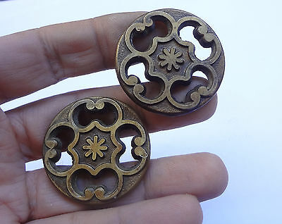 Lot 2 Vintage Solid Brass Round Pull handles 1 1/2'' # Drawer Free Shipping