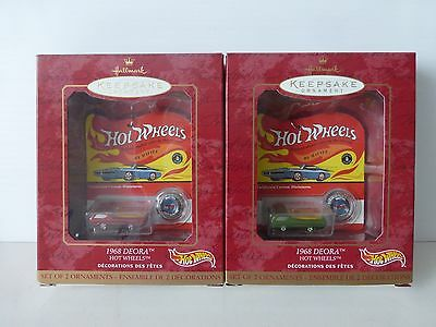 Hallmark Ornament HOT WHEELS 1968 DEORA NIB 2000 LOT OF 2  1 RED 1 GREEN