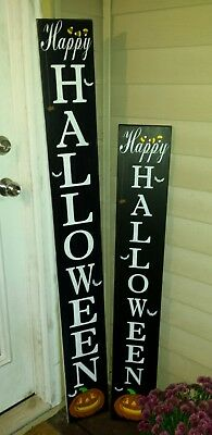 Happy Halloween Wood Porch Sign Large Primitive Distressed Pumpkin Candy Corn