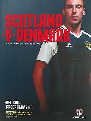 Scotland v Denmark Friendly International 29th March 2016 Mint condition.