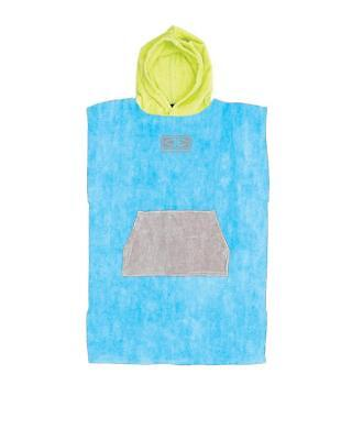 Kids Hooded Surf Poncho - Blue/Lime/Grey From Ocean & Earth