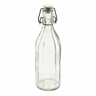 Leifheit 03180 Reusable Glass Bottle with Shackle Lock Stopper | Clear New