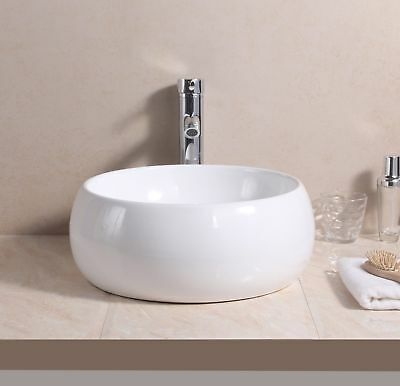 Round Bowl Ceramic Counter Top Basin Sink/Bottle Trap/Pop up Waste/Tap Bathroom