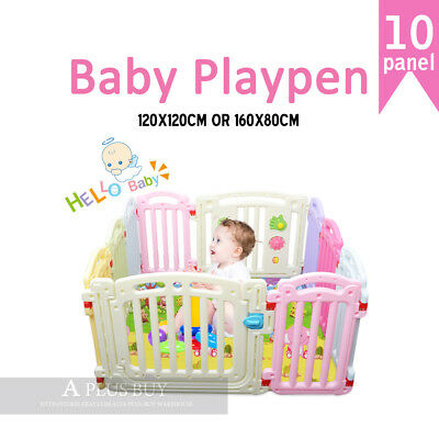 120x120CM New Kids Baby Toddler Safety Gate Colourful Playpen Square 10 panel