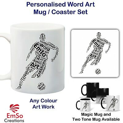 Personalised Word Art Magic Photo Heat Mug / Coaster Football Player Coach Award