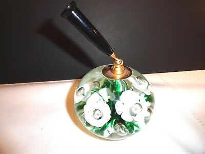 Interesting Joe St. Claire Controlled Bubble Glass Paperweight Pen Holder
