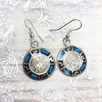 Earrings México Aztec Round Design Turquoise Colour Silver Plated Fair Trade