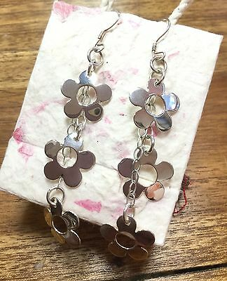 EARRINGS Mexico Sterling Silver Plated  Triple Daisy Design Fair Trade Gift