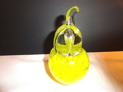 Beautiful Yellow Controlled Bubble Glass St. Claire Pear Shaped Paperweight~Exc.