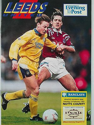 Leeds United v Notts County Barclays League Division One 1st February 1992