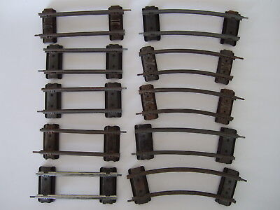 "VTG Hornby Meccano O Gauge Clockwork Track – 5 pieces 5"" flat 5 pieces curved"