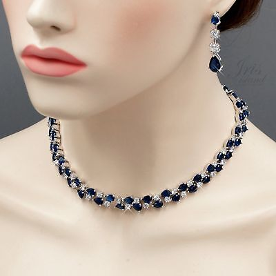 White Gold Plated Sapphire Zirconia CZ Necklace Earrings Wedding Jewelry Set 262