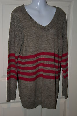 New Oh Baby by Motherhood maternity brown w pink stripes sweater XLarge XL 16-18