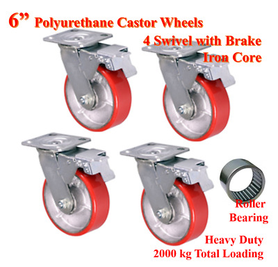 "6"" (150mm) Heavy Duty PU Castor Wheels, 4 Swivels with Brake, Trolley Caster"