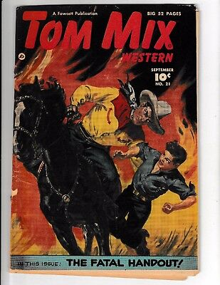 TOM MIX WESTERN #21 Painted Cover! Fawcett Movie/Radio Star! 52 Pages! Sept,1949